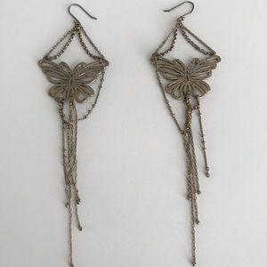 Copper gold butterfly earrings